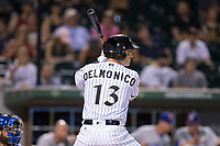 Nicky Delmonico (13) of the Charlotte Knights at bat against the Durham Bulls at BB&T BallPark on May 15, 2017 in Charlotte, North Carolina. The Knights defeated the Bulls 6-4.  (Brian Westerholt/Four Seam Images)