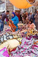 Fes, Morocco.  A Fabric Market in the Medina.