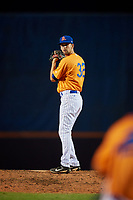St. Lucie Mets relief pitcher Stephen Villines (32) gets ready to deliver a pitch during a game against the Daytona Tortugas on August 3, 2018 at First Data Field in Port St. Lucie, Florida.  Daytona defeated St. Lucie 3-2.  (Mike Janes/Four Seam Images)