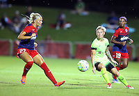 Boyds, MD - Wednesday Sept. 07, 2016: Line Sigvardsen Jensen, Jessica Fishlock during a regular season National Women's Soccer League (NWSL) match between the Washington Spirit and the Seattle Reign FC at Maureen Hendricks Field, Maryland SoccerPlex.