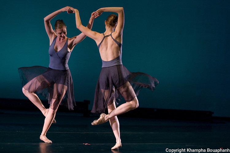 """Texas Dance Theatre's Lauren Collier, left, and Erin Labhart perform a piece called """"Confugium"""" at Scott Theater in Fort Worth on April 30, 2010.  (photo by Khampha Bouaphanh"""