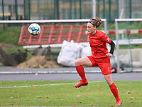 Clotilde Codden (23 Woluwe) during the warm up before a female soccer game between FC Femina White Star Woluwe and Sporting Charleroi on the 10 th matchday of the 2020 - 2021 season of Belgian Scooore Womens Super League , Saturday 19 th of December 2020  in Woluwe , Belgium . PHOTO SPORTPIX.BE | SPP | SEVIL OKTEM