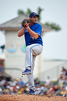 Toronto Blue Jays pitcher Joe Biagini (66) delivers a pitch during a Spring Training game against the Pittsburgh Pirates on March 3, 2016 at McKechnie Field in Bradenton, Florida.  Toronto defeated Pittsburgh 10-8.  (Mike Janes/Four Seam Images)