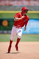 Clearwater Threshers center fielder Mickey Moniak (2) runs the bases during a game against the Fort Myers Miracle on April 25, 2018 at Spectrum Field in Clearwater, Florida.  Clearwater defeated Fort Myers 9-5. (Mike Janes/Four Seam Images)