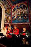 Christmas Eve Vigil Service at St. Sava Serbian Orthodox Church, Jackson, Calif. Choir signing.