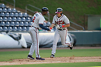 Third baseman Brendan Venter (32) of the Rome Braves in Game 1 of a doubleheader against the Greenville Drive on Friday, August 3, 2018, at Fluor Field at the West End in Greenville, South Carolina. Rome won, 7-6. (Tom Priddy/Four Seam Images)