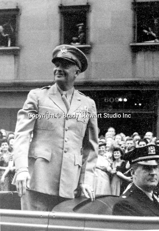 New York City:  View of General Eisenhower during the New York City Victory ticker tape parade - June 19th 1945.  Brady Stewart Jr. was stationed at Camp Shanks when he took the photo.