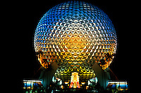 Close up at night with long exposure of globe ball for Epcot of Walt Disney World in Orlando Florid