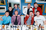 Enjoying the evening in Benners Hotel on Saturday. Seated l to r: Eddie Galvin, Michael Walsh, Ronan Fitzgerald and Quinn O'Halloran,  Standing l to r: Sean Collins, Jack Barry, David Lenihan and Darren Nolan.
