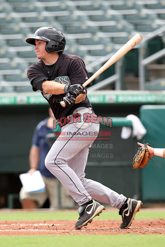 Second baseman Connor Burke #10 of the Florida Marlins instructional League team during a game against the Italian National Team at the Roger Dean Stadium in Jupiter, Florida;  September 27, 2011.  Italy is training in Florida for the Baseball World Cup.  (Mike Janes/Four Seam Images)