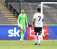 1st May 2021; Liberty Stadium, Swansea, Glamorgan, Wales; English Football League Championship Football, Swansea City versus Derby County; Freddie Woodman of Swansea City controls the ball before passing out to his defender