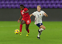 ORLANDO CITY, FL - FEBRUARY 18: Nichelle Prince #15 controls the ball while pressured by Abby Dahlkemper #7 during a game between Canada and USWNT at Exploria stadium on February 18, 2021 in Orlando City, Florida.