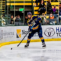26 January 2019: Merrimack College Warrior Forward Laine McKay, a Sophomore from Thunder Bay, Ontario, in second period action against the University of Vermont Catamounts at Gutterson Fieldhouse in Burlington, Vermont. The Warriors fell to the Catamounts 4-3 in overtime after tying up the game in the dyeing seconds of the third period of their America East conference game. Mandatory Credit: Ed Wolfstein Photo *** RAW (NEF) Image File Available ***