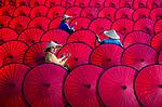 Making of colourful umbrellas by Farida Rasiti