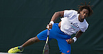 March 23 2016: Gael Monfils (FRA) practing with Stan Wawrinka (SUI) at the Miami Open being played at Crandon Park Tennis Center in Miami, Key Biscayne, Florida.