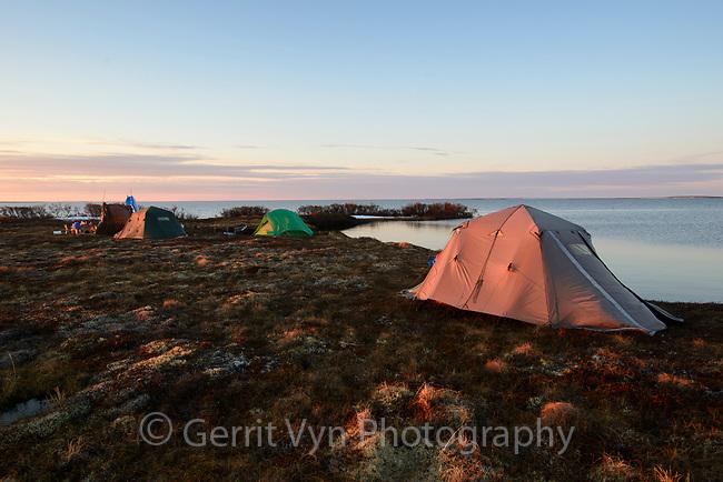 Field camp at Arapuk Lake on the Yukon Delta. Yukon Delta National Wildlife Refuge, Alaska. May