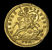 BNPS.co.uk (01202 558833)<br /> Pic:  DixNoonanWebb/BNPS <br /> <br /> The reverse shows Constantine on horseback defeating his enemies at the legendary battle of Milvian Bridge outside Rome - after which he became the first Christian Emperor of the Roman world.<br /> <br /> 1600 year old coin looks as good as new...<br /> <br /> An extremely rare Roman gold coin that was discovered by a metal detectorist on a farm has sold at auction for almost £20,000.<br /> <br /> The 4th century AD treasure was found 1ft below the surface of a field near Wanstrow, Somerset.<br /> <br /> The Solidus coin carries the portrait of Constantine I who was the first ruler to embrace the cult of Christianity.