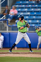 Lynchburg Hillcats third baseman Alexis Pantoja (6) at bat during a game against the Salem Red Sox on May 10, 2018 at Haley Toyota Field in Salem, Virginia.  Lynchburg defeated Salem 11-5.  (Mike Janes/Four Seam Images)