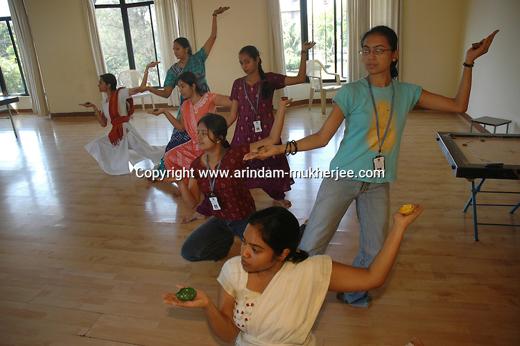 Indian software professionals  reharshing for a office dance program at Wipro office in Bangalore. Wipro is the second largest software company in the country and the head office is in Bangalore, Karnataka, India. Arindam Mukherjee