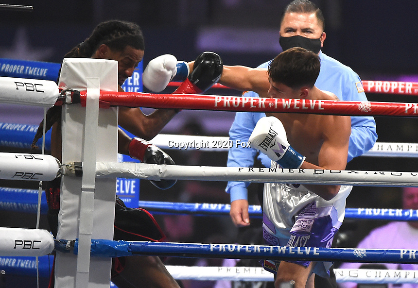 ARLINGTON, TX - DECEMBER 5: Vito Mielnicki and Steven Pulluaim during their fight on Fox Sports PBC Pay-Per-View fight night at AT&T Stadium in Arlington, Texas on December 5, 2020. (Photo by Frank Micelotta/Fox Sports)
