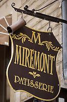 """Europe/France/Aquitaine/64/Pyrénées-Atlantiques/Biarritz: """" Miremont """" Patissier ,Salon de Thé créé en 1880- détail de l'enseigne"""