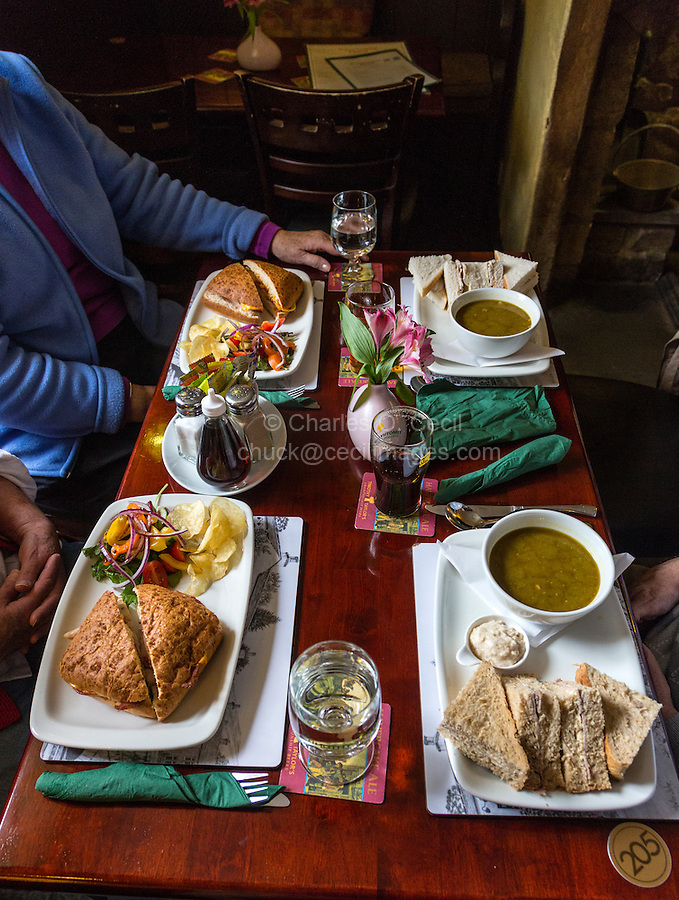 UK, England, Kettlewell, Yorkshire.  Pub Lunch of Soup, Sandwiches, and Salad.  The Racehorses Hotel.