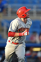 Clearwater Threshers first baseman Zach Green (12) runs to first during a game against the Dunedin Blue Jays on April 10, 2015 at Florida Auto Exchange Stadium in Dunedin, Florida.  Clearwater defeated Dunedin 2-0.  (Mike Janes/Four Seam Images)
