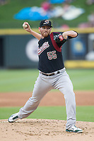 Sacramento River Cats pitcher Dan Straily (55) delivers a pitch to the plate during the Pacific Coast League baseball game against the Round Rock Express on June 19, 2014 at the Dell Diamond in Round Rock, Texas. The Express defeated the River Cats 7-1. (Andrew Woolley/Four Seam Images)