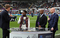 (L-R) Jake Humphrey of BT Sport, Nathan Dyer of Swansea City, Ian Wright and John Hartson during the Premier League match between Swansea City and Everton at The Liberty Stadium, Swansea, Wales, UK. Saturday 06 May 2017