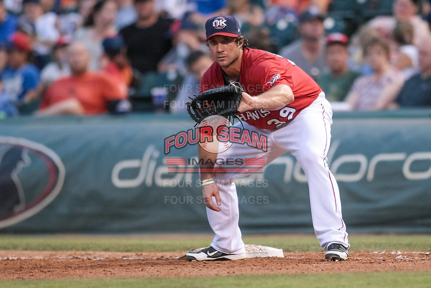 Brett Wallace (39) of the Oklahoma City RedHawks on first base during the Pacific Coast League game against the Round Rock Express at Chickashaw Bricktown Ballpark on June 14, 2013 in Oklahoma City ,Oklahoma.  (William Purnell/Four Seam Images)