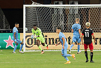 WASHINGTON, DC - SEPTEMBER 06: Sean Johnson #1 of New York City FC makes a save during a game between New York City FC and D.C. United at Audi Field on September 06, 2020 in Washington, DC.