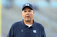 CHAPEL HILL, NC - SEPTEMBER 07: Offensive Line Coach Stacy Searels of the University of North Carolina during a game between University of Miami and University of North Carolina at Kenan Memorial Stadium on September 07, 2019 in Chapel Hill, North Carolina.