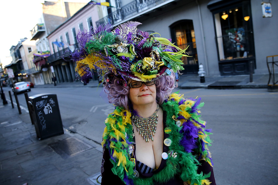 NEW ORLEANS, LOUISIANA - FEBRUARY 9, 2016:  A reveler makes her way through the French Quarter during Mardi Gras day on February 9, 2016 in New Orleans, Louisiana. Fat Tuesday, or Mardi Gras in French, is a celebration traditionally held before the observance of Ash Wednesday and the beginning of the Christian Lenten season. (Photo by Jonathan Bachman/Getty Images)