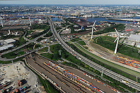 GERMANY Hamburg, aerial view of port, river Elbe, Hansaport and Altenwerder, 6 MW Enercon E-126 windmill infront of harbour / DEUTSCHLAND Hamburg Hafen, zwei Windraeder Enercon E-126 mit je 6 MW  in Altenwerder /