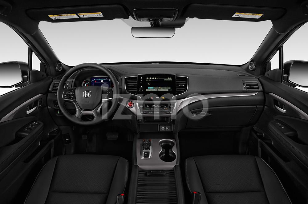 Stock photo of straight dashboard view of 2019 Honda Passport EX-L 5 Door SUV Dashboard