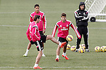 Real Madrid's Raphael Varane (t), Garet Bale (d) and Lucas Silva during training session.January 30,2015.(ALTERPHOTOS/Acero)