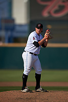 Inland Empire 66ers relief pitcher Jonah Wesely (19) during a California League game against the Lancaster JetHawks at San Manuel Stadium on May 20, 2018 in San Bernardino, California. Inland Empire defeated Lancaster 12-2. (Zachary Lucy/Four Seam Images)