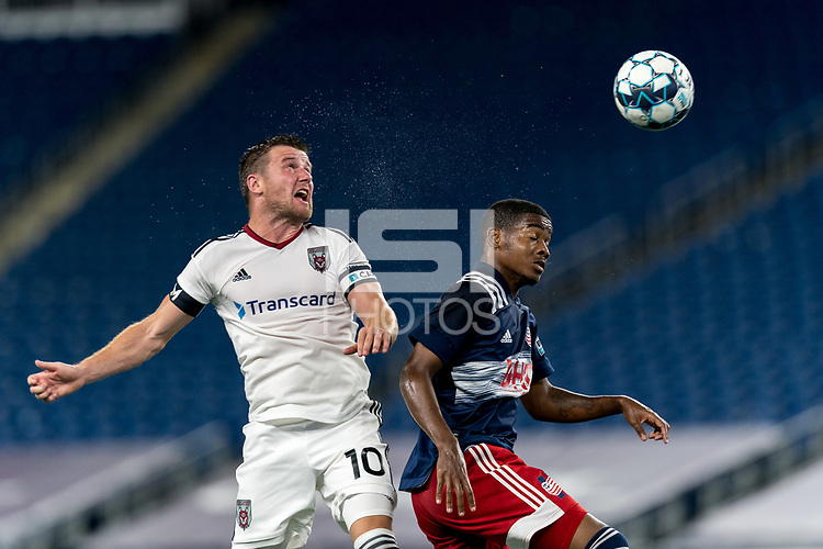 FOXBOROUGH, MA - SEPTEMBER 09: Steven Beattie #10 of Chattanooga Red Wolves SC and Maciel #6 of New England Revolution II battle for head ball during a game between Chattanooga Red Wolves SC and New England Revolution II at Gillette Stadium on September 09, 2020 in Foxborough, Massachusetts.