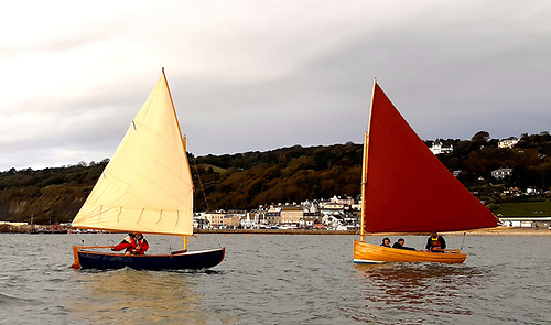 this year's flotilla of six boats included a West Wight Scow (left) and the 12ft Bray Droleen (right)