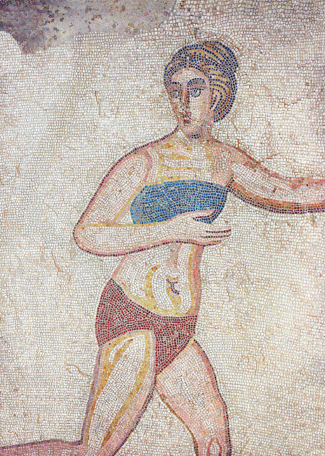 Mosaic detail of a women running with a blue bikini, from the Room of the Ten Bikini Girls, room no 30  at the Villa Romana del Casale which containis the richest, largest and most complex collection of Roman mosaics in the world. Constructed in the first quarter of the 4th century AD. Sicily, Italy. A UNESCO World Heritage Site.