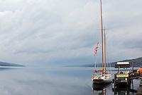Schooner True Love awaits passangers for a tour of Seneca Lake, Watkins Glen, New York, USA