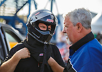 Sep 29, 2017; Madison , IL, USA; NHRA funny car driver Del Worsham with father Chuck Worsham during qualifying for the Midwest Nationals at Gateway Motorsports Park. Mandatory Credit: Mark J. Rebilas-USA TODAY Sports