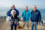 Out of the water in Fenit on Good Friday, l to r Eddie Stack with Bawnie the dog, Helena Shanahan and David Magner.