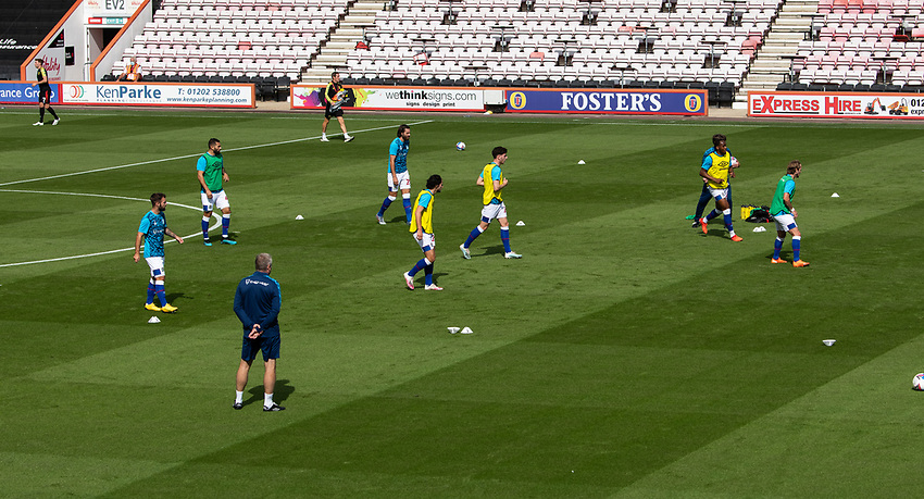 Blackburn Rovers during the pre-match warm-up<br /> <br /> Photographer David Horton/CameraSport <br /> <br /> The EFL Sky Bet Championship - Bournemouth v Blackburn Rovers - Saturday September 12th 2020 - Vitality Stadium - Bournemouth<br /> <br /> World Copyright © 2020 CameraSport. All rights reserved. 43 Linden Ave. Countesthorpe. Leicester. England. LE8 5PG - Tel: +44 (0) 116 277 4147 - admin@camerasport.com - www.camerasport.com