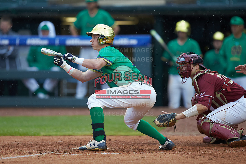 Nick Podkul (7) of the Notre Dame Fighting Irish squares to bunt against the Florida State Seminoles in Game Four of the 2017 ACC Baseball Championship at Louisville Slugger Field on May 24, 2017 in Louisville, Kentucky. The Seminoles walked-off the Fighting Irish 5-3 in 12 innings. (Brian Westerholt/Four Seam Images)