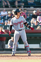 Salt River Rafters catcher Tres Barrera (12), of the Washington Nationals organization, at bat during the Arizona Fall League Championship Game against the Peoria Javelinas at Scottsdale Stadium on November 17, 2018 in Scottsdale, Arizona. Peoria defeated Salt River 3-2 in 10 innings. (Zachary Lucy/Four Seam Images)