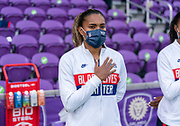 ORLANDO, FL - FEBRUARY 21: Catarina Macario #11 of the USWNT stands before the national anthem during a game between Brazil and USWNT at Exploria Stadium on February 21, 2021 in Orlando, Florida.