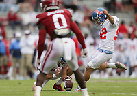 Ole Miss kicker Luke Logan (92) kicks a field goal, Saturday, October 17, 2020 during the third quarter of a football game at Donald W. Reynolds Razorback Stadium in Fayetteville. Check out nwaonline.com/201018Daily/ for today's photo gallery. <br /> (NWA Democrat-Gazette/Charlie Kaijo)