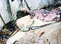 Iraq 1988  <br /> A peshmerga sleeping in a tent at Gali Sate  <br /> Irak 1988 <br /> Peshmerga dormant sous une tente a Gali Sate