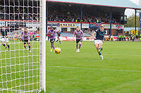25th September 2021; Kilmac Stadium, Dundee, Scotland: Scottish Premiership football, Dundee versus Rangers; Jason Cummings of Dundee fires in a penalty kick which was saved by Rangers goalkeeper Jon McLaughlin in the second half to retain the win